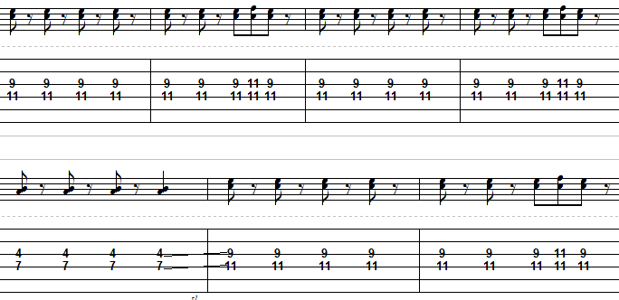a0630e4d3ca Ultimately it's very much like the rhythm guitar, with the exception of the  4/7 part. It's just meant to add depth to the song.
